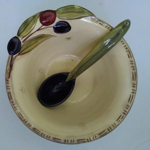 Other - Beautiful clay art serving bowl with spoon